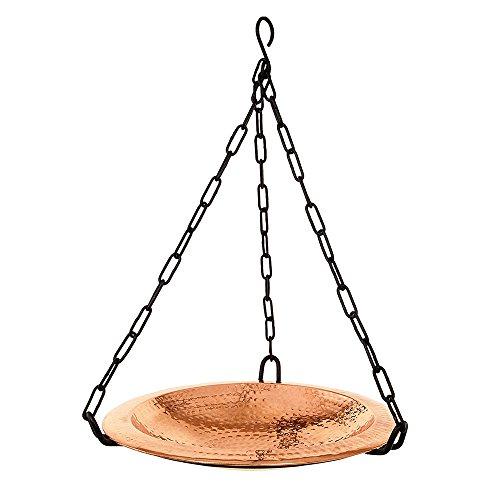 Achla Designs BBH-02CP Hammered Hanging birdbath Bowl Polished Copper
