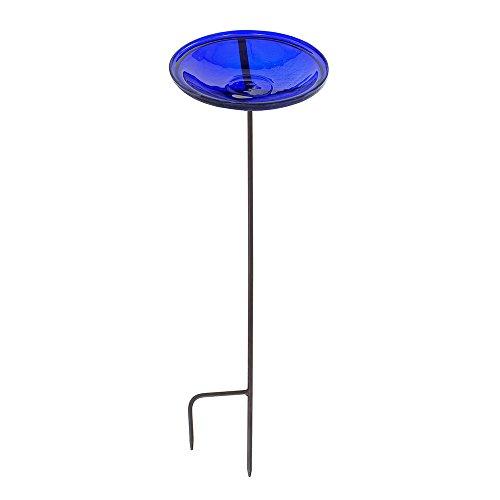 Achla Designs Crackle Glass Birdbath Bowl with Stake 14-in Cobalt Blue