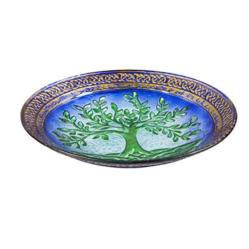 Evergreen Garden Tree of Life Glass Birdbath Bowl 18 inches