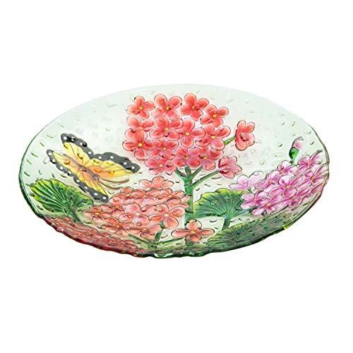 Goose Creek 18Decorative Birdbath Pebble Glass Bird Bath Bowl Butterfly Floral