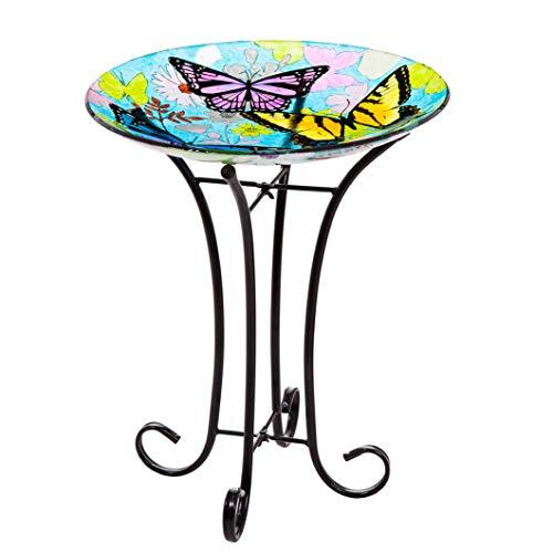 Topadorn Bird Bath Bowl Garden Décor Glass Plate Birdbath with Metal StandButterfly Bird Bath