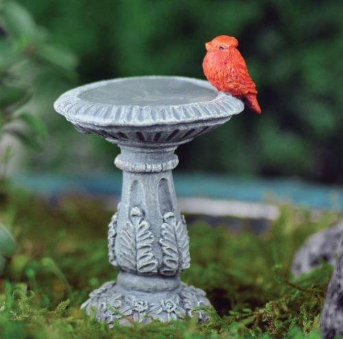 Fairy Garden Cardinal Birdbath