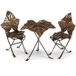 Mini Ivy Ivie Bistro Set Table And 2 Chairs - Fairy Garden Village Birdbath Accessories Decoration Miniature Dollhouse
