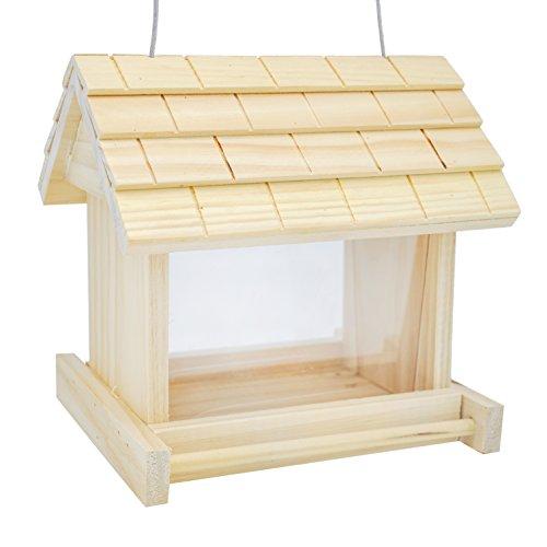 Gardirect Wooden Bird Seed Feeder Log Cabin Bird Feeder