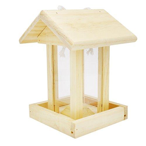 Gardirect Wooden Hanging Bird Feeder Transparent Plastic Window Feeding Station