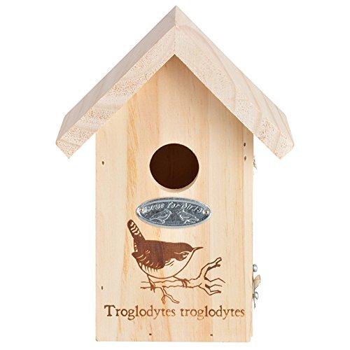 Esschert Design Nk64 Birdhouse With Winter Wren Line Drawing
