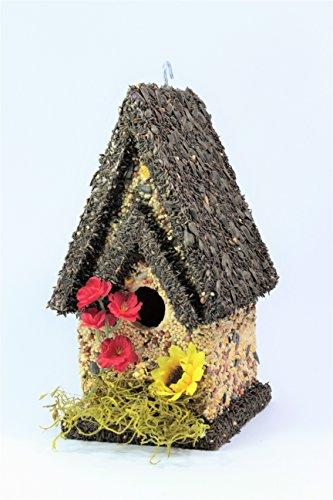 Handmade Edible Birdhouse- TALL DARK- Unique Reseedable Bird Feeder Wooden Birdhouse Covered w Birdseed- Made in the USA
