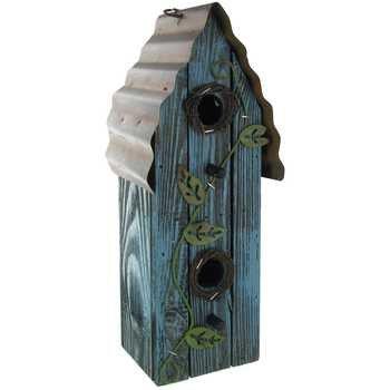 Blue Wood Hanging Birdhouse With Metal Vine