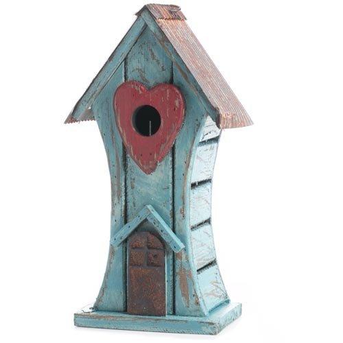 Factory Direct Craft&reg Tweet Sweet Rustic Light Blue Wooden Decorative Birdhouse With Rusty Tin Roof