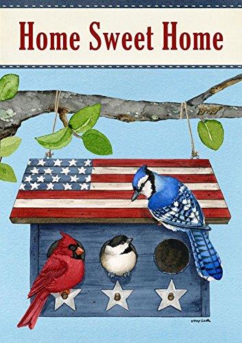 Patriotic Living Spring Garden Flag Blue Jay Cardinal Birdhouse 125&quot X 18&quot