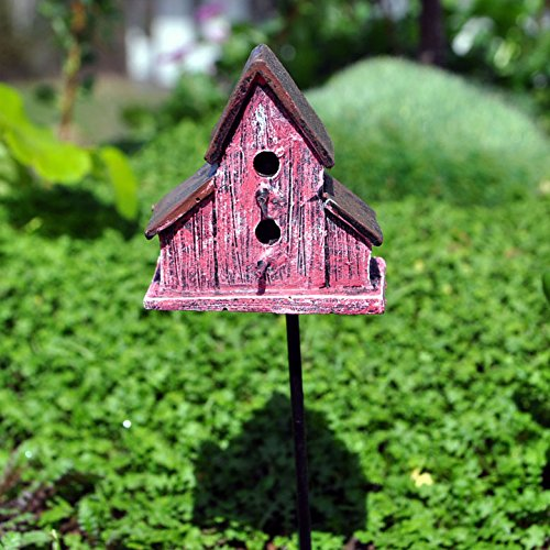 Miniature Fairy Garden Rustic Red Bird House Pick