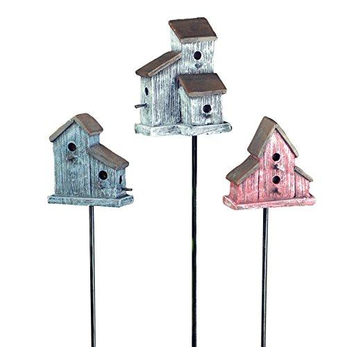 Georgetown Homeamp Garden Miniature Birdhouse Stake Garden Decor Redwhiteblue Set Of 3
