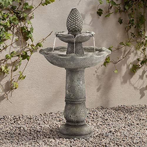 John Timberland Pineapple Garden Italian Outdoor Floor Water Fountain 35 High 2 Tiered Bird Bath for Yard Patio Home Deck