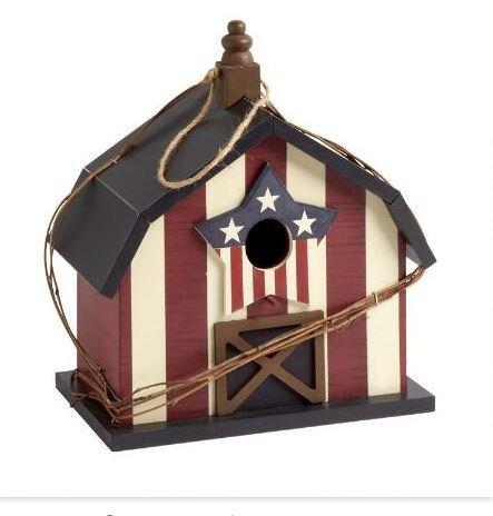 12&rdquo Patriotic American Wood Barn Birdhouse