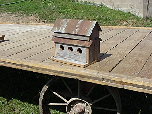 Handcrafted 3 Hole Barnwood Birdhouse Made From 100  Year Old Barnwood With A Tin Roof Great Addition To Your