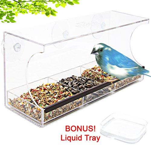 Large Window Bird Feeder W Bonus Water Tray - Clear Removable Seed Tray Liquid Tray Drain Holesamp Safe Packaging