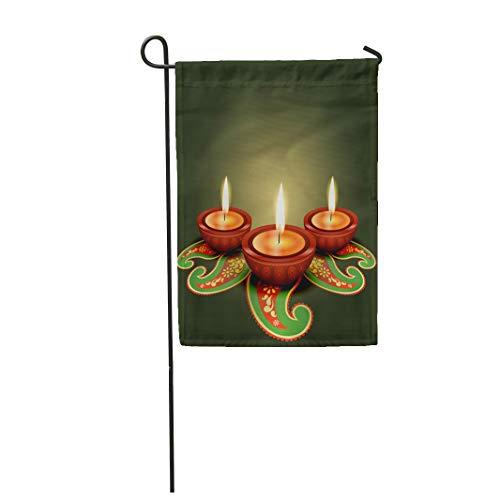 Tinmun 12x 18 Garden Flag Greeting Glowing Diya Indian Creative Lamp Happy Artistic Deepawali Outdoor House Decor Flag
