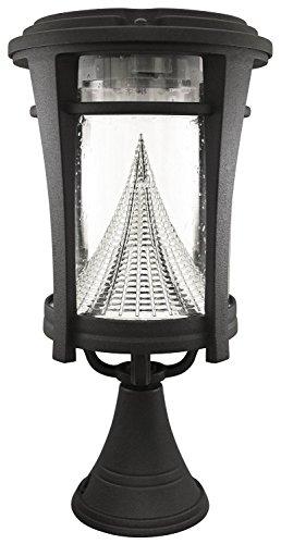 Gama Sonic Aurora Solar Outdoor LED Light Fixture PolePostWall Mount Kit Black Finish GS-124FPW