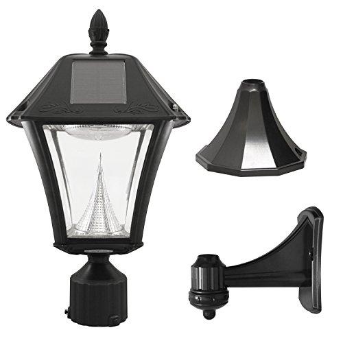 Gama Sonic Baytown II Solar Outdoor LED Light Fixture PolePostWall Mount Kit Black Resin 105033