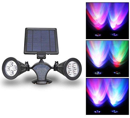 Signstek 300 Lumen 2 Lamp Base Solar Led Spotlight 360&iexcl&atildeangle Adjustable For Garden Wall Patio Deck Pool