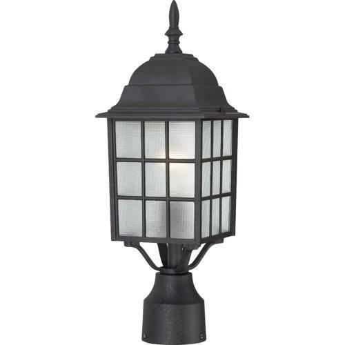 Nuvo Lighting 604909 Adams One Light Post Lantern 100 Watt A19 Max Frosted Glass Textured Black Outdoor Fixture