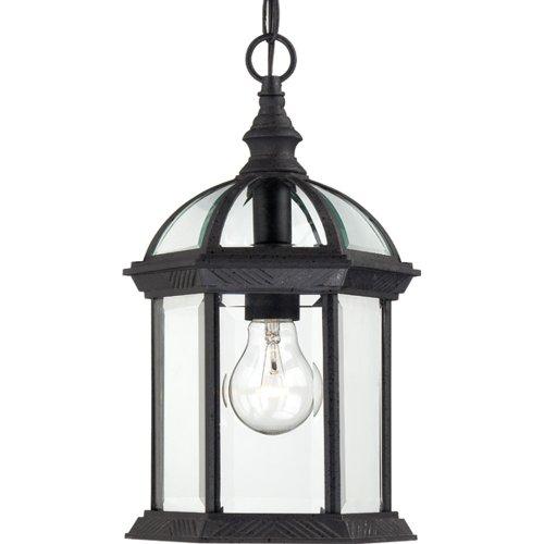 Nuvo Lighting 604979 Boxwood One Light Hanging Lantern 100 Watt A19 Max Clear Beveled Glass Textured Black Outdoor Fixture