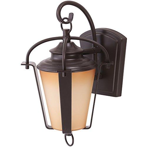 Sunlite LFXDODL612W30K 115 Inch LED Lantern Wall Mounted Outdoor Lighting Fixture Copper Bronze Finish Amber Alabaster Glass Lens