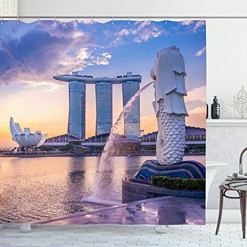 Ahawoso Shower Curtain Set with Hooks 72x78 Dawn Daylight Modern Fountain Singapore Dusk May Tourist 21 2016 Spray Sunrise Tourism Landmarks Waterproof Polyester Fabric Bath Bathroom Decor