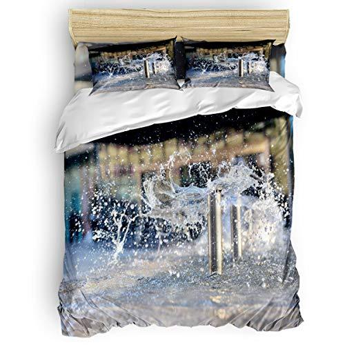 Bedding Duvet Cover Full 4 Piece Set Modern Fountain Duvet Cover Set Ultra Soft Microfiber Breathable Comforter Cover Set for Kids Adults BedroomZipper Closure