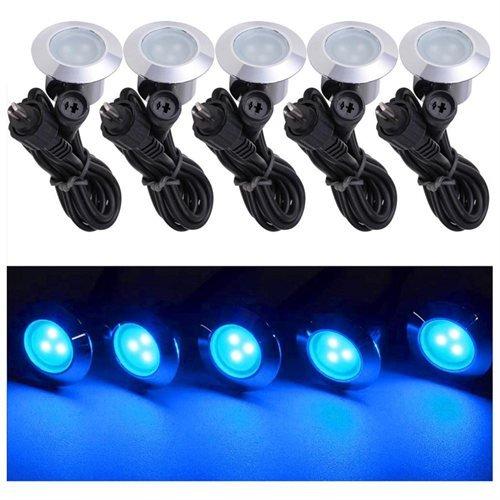 10 Pack LED Deck Lighting Fixture w Transformer Color Blue