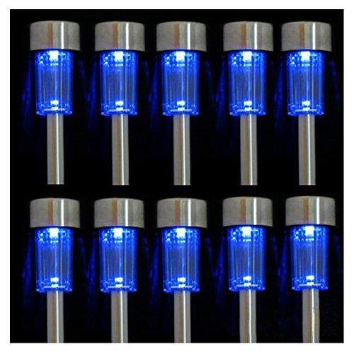Iperb&reg 10pcs Blue Led Outdoor Steel Garden Solar Powered Landscape Light Lamp