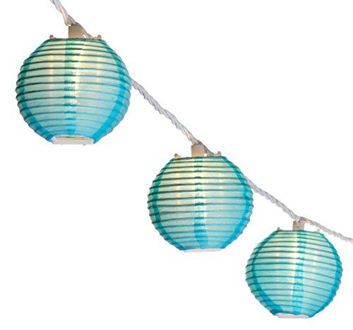 Oriental Lantern Outdoor Indoor String Lights 11 Feet Length 10 Lights Blue