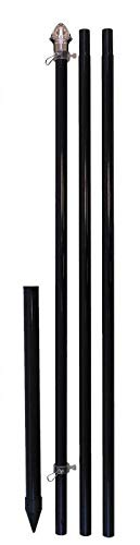 Flags Importer 10ft wGround Spike Black Outdoor Pole