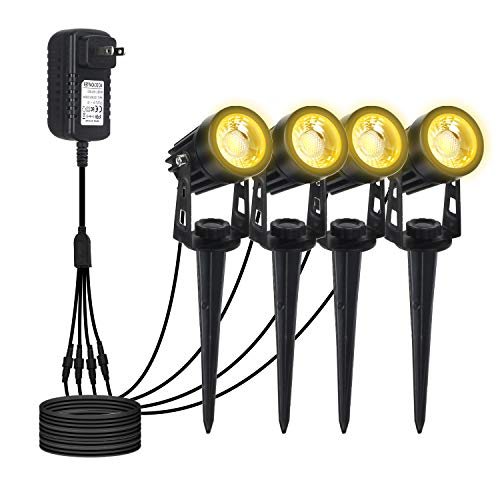T-SUN Low Voltage Landscape Lights Plug in COB Landscape Spotlights 4 Pack Outdoor Ground Lights Waterproof for Garden Patio YardWarm White
