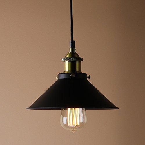 Permo Industrial Vintage Nostalgic Black Mini Metal Filament Pendant Light Lamp 1 Light With 40-watt Edison Bulb