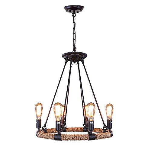 LNC Rustic Rope Chandeliers 6-light Pendant Lighting for Kitchen Dining Room Living Room Restaurant