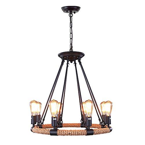 LNC Rustic Rope Chandeliers 8-light Pendant Lighting for Kitchen Dining Room Living Room Restaurant