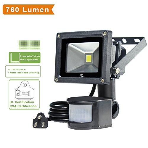 LTE 10W LED Motion Sensor Flood Lights 760 Lumen 60W Halogen Lights Equivalent Daylight White Waterproof Security Lights PIR Floodlight