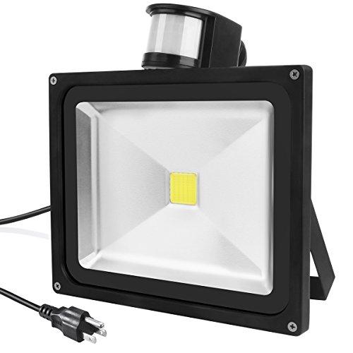 Warmoon LED Motion Sensor Flood Light 50W Daylight White 6500K 4500-6000lm Waterproof Security Lights with PIR