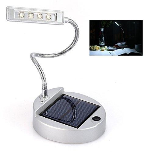 Solar Table Lamp LightHison 4 LED Flexible Gooseneck Lamp Reading Light solar book light indoor lights Nightlight SILVER