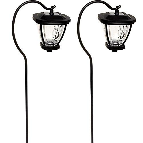 Fusion Solar LED Shepherds Hook Hanging Lantern Lights Black 2 Pack
