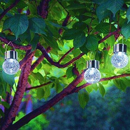 3pcs-PACK Crackle Glass Globe Solar Lights With Hanger Sogrand Solar Pathway Light Hanging Lights Gazebo Lights