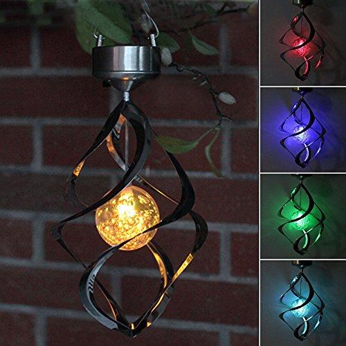 AGPtEKÂ Solar Power light Wind Spinner LED Light Outdoor Garden Courtyard Hanging Lamp Lawn Light