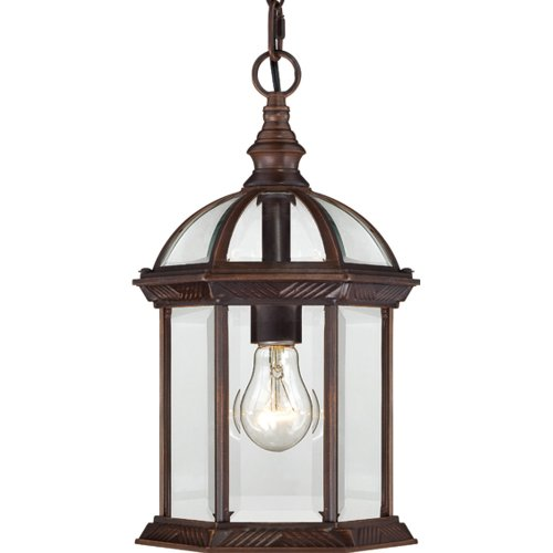 Nuvo Lighting 604978 Boxwood One Light Hanging Lantern 100 Watt A19 Max Clear Beveled Glass Rustic Bronze Outdoor