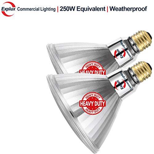 Explux 250W Equivalent LED PAR38 Flood Light Bulbs Weatherproof 2600 Lumens Dimmable 4100K Cool White 2-Pack