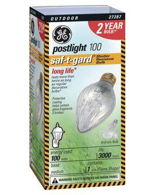 G E Lighting 44540 Saf-T-Gard Outdoor Post Light Bulb 100Watt 100F20TFSTG