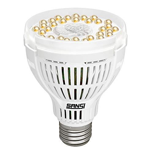 SANSI 15W LED Grow Light Bulb Daylight White Full Spectrum Grow Lights for Indoor Plants LED Plant Light Bulbs for Indoor Garden Houseplants Commercial Hydroponic Horticulture E26 A21 120V