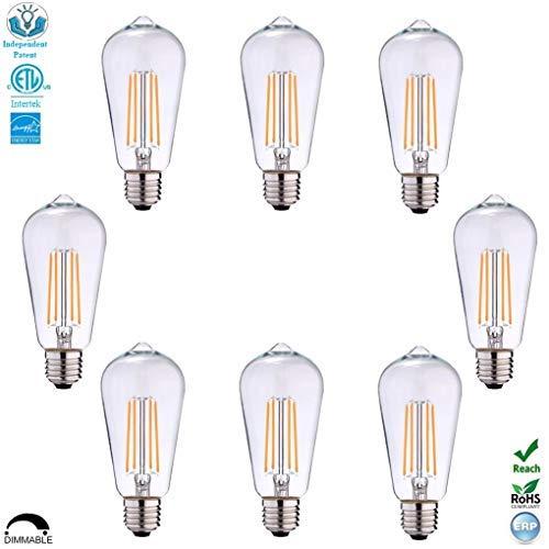 ST19ST58 Dimmable ETL LED Edison Light Bulb Filament Vintage Classic Light Bulb E26 Base 65Watt60W Equivalent for Home Restaurant 3000KWarm White810LumenCRI80criScrew Clear Glass8-Pack