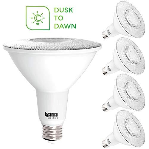 Sunco Lighting 4 Pack PAR38 LED Bulb with Dusk-to-Dawn Photocell Sensor 15W120W 5000K Daylight 1250 LM Auto OnOff Security Flood Light IndoorOutdoor - UL