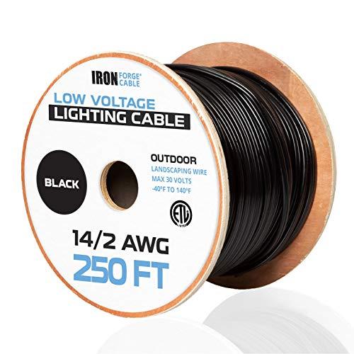 142 Low Voltage Landscape Wire - 250ft Outdoor Low-Voltage Cable for Landscape Lighting Black